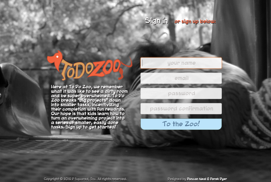 screen capture of todozoo home page